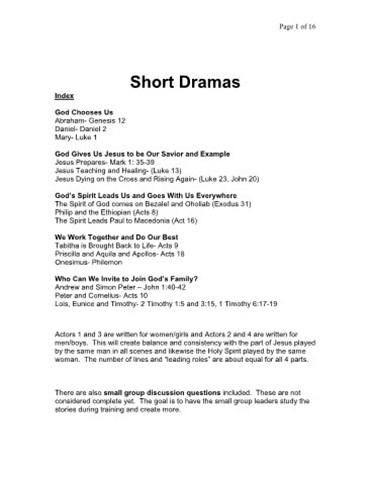 15 Short Bible Dramas